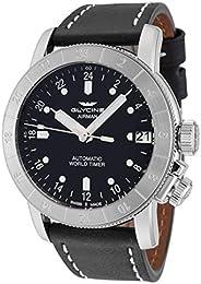 Glycine 3953.191-66.LB9B Airman Purist Men's Black Dial Leather Band Watch - GL