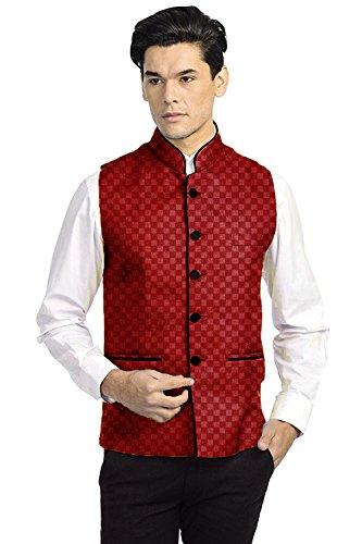 Vastraa Fusion Men's Chequered Blended Festive Red Nehru Jacket / Waistcoat -...