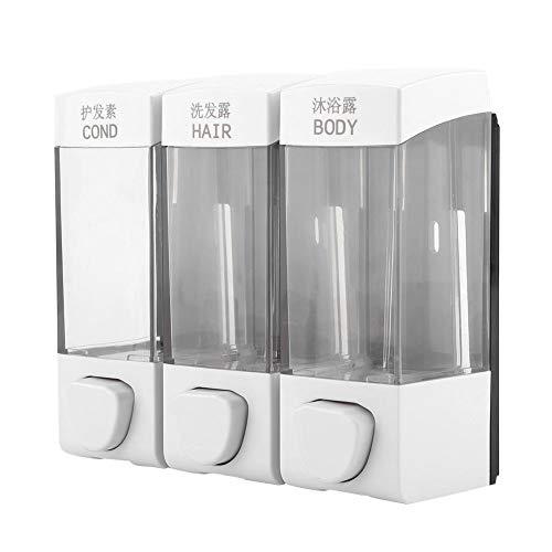 Fdit Socialme-EU Dispensador de jabón 1050ML Dispensador de Gel de Champú para Líquido en Ducha de Jabón Líquido 3 Botellas en Pared para Cocina y Baño
