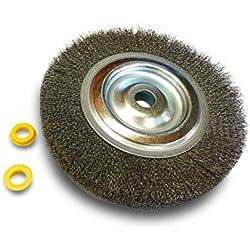 Kibros 235152IT | Brosse circulaire métallique inoxydable alésage | Ø 150 mm | Inox fil ondulé 0,30 | Touret meuleuse établi banc | Réducteur adaptateur | Polissage meulage ébavure brossage décapage