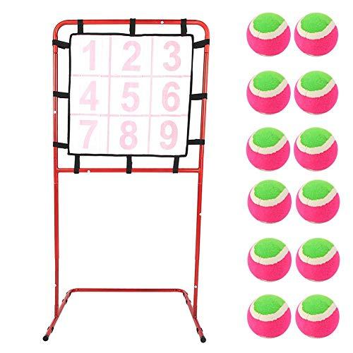 9 Gitter Spielzeug Ziel Kinder Spielzeug Zielscheibe Rahmen Frühe Entwicklung Bildung Spiel Ziel Rack Spielzeug Baseball Softballziel Praxis Ziel werfen Ziel Outdoor Indoor Game Set mit 12 Bällen -