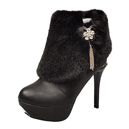 Bazhahei donna scarpa,ragazza pelle stivali strass scarpe con i tacchi alti,invernali/autunno tacchi alti scarpe singole stivaletti shoes con tacco basso stivale,boots moda da donna