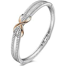 Angelady ❤Cendrillon Classique Bracelet Argent Femme Bracelet Or Rose pour Femme avec des Cristaux, Bracelet Infini Cadeau Mariage Cadeau Anniversaire pour Femme Maman -avec Boîte Cadeau