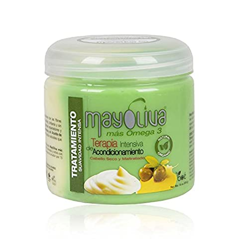 Mayoliva, huile d'olive et masque pour cheveux à la mayonnaise 454g – Masque nourrissant pour cheveux, pour cheveux sec et abimés, avec de l'huile d'olive pour cheveux et des protéines hydrolysées d'œuf, de soie et de lait