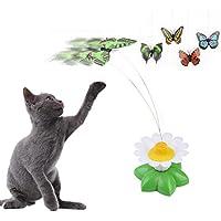 Jouet rotatif électrique pour chat en forme de papillon tournant au-dessus d'une fleur