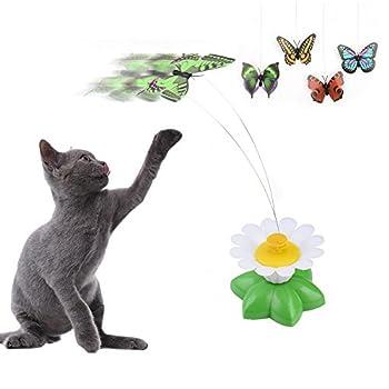 Jouet rotatif électrique pour chat en forme de papillon tournant au-dessus d?une fleur