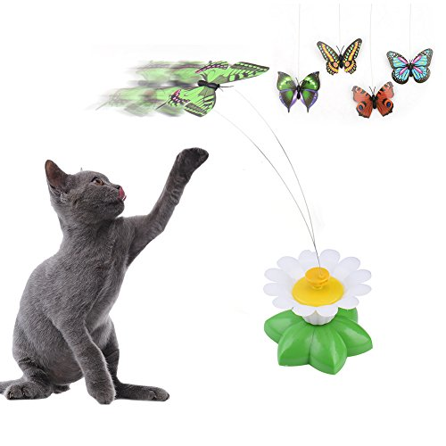 Funny-Cat-Electric-Rotating-Butterfly-Teaser-Toys-with-Steel-Wire-Kitten-Cat-Electric-Swivel-Interactive-Play-Toys-Color-random-without-Batteries