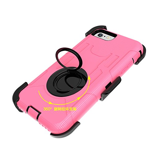 iPhone 8 Belt Clip Hülle, Heavy Duty 4 Layers Harte Rüstung Anti-Kratzer PU Silikon Handyhülle mit Ring Ständer / Kickstand Stoßfest Etui Shockproof Case Cover Kompletter Schutz Tasche Schutzhülle für Rosa