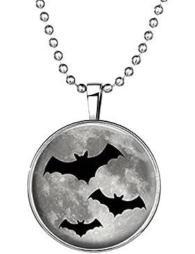 HIJONES Kinder Halloween Schmuck Luminous Vampire Bats Anhänger Halskette