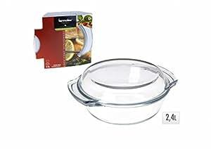 glaskochgeschirr glastopf mit deckel 2 4l auflaufform glassch ssel k che haushalt. Black Bedroom Furniture Sets. Home Design Ideas