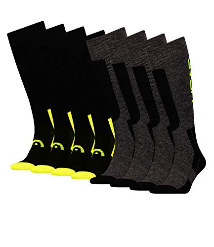 HEAD Unisex Skistrümpfe Skisocken Thermokniestrümpfe Kneehigh 781003001 4 Paar, Farbe:Gelb, Größe:43/46, Menge:4 Paar (2x 2er Pack), Artikel:-817 neon yellow