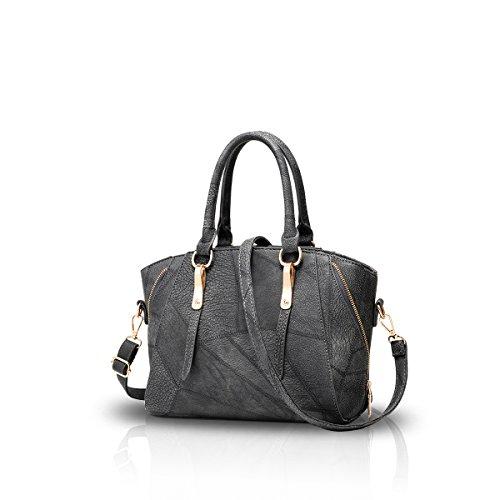 NICOLE&DORIS Borsa Donne borsa alla moda del messaggero della spalla della borsa del Tote casuale del lavoro Satchel Zipper grigio grigio