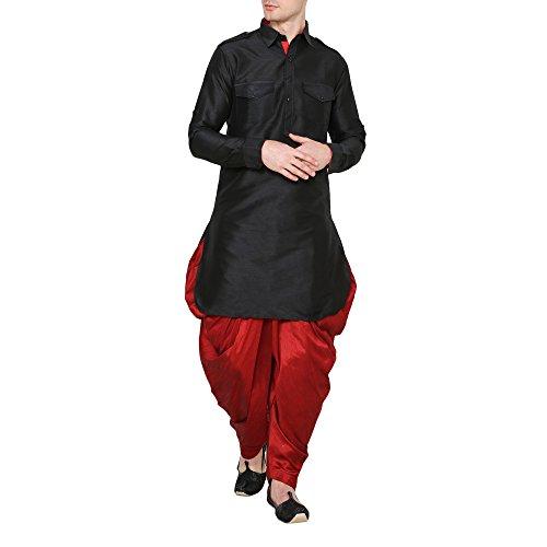 Royal Kurta Men's Silk Blend Pathani Kurta Salwar Set (38, Black)