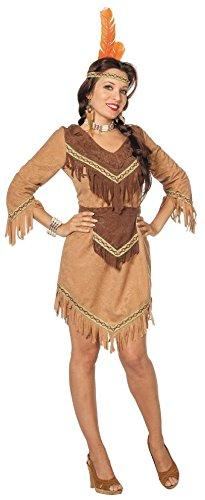 L3200830-36 Damen langarm Indianerin Indianer-Kleid beige ()