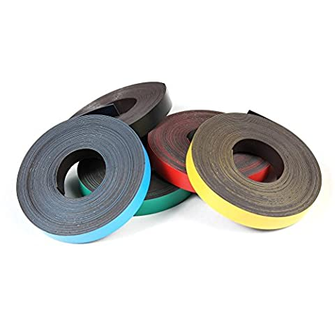 Coloured Magnetic Gridding Tape, Marking tape, Label Magnets 0,85mm x 40mm x 5m - for marking and labeling, quickly removable,
