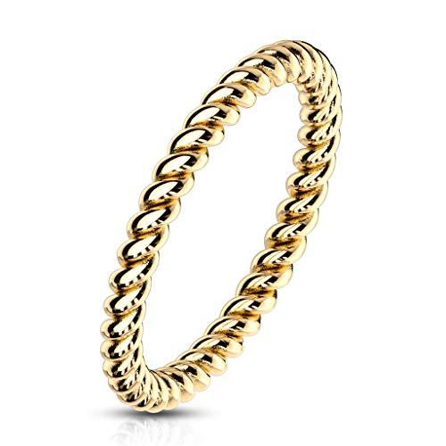 Paula & Fritz® Damenring 2mm schmal geflochten als Vorsteck-Ring Silber Gold Rose-Gold Edelstahl gedrehtes Seil R-M6957G_70 (Rose Gold Und Weißgold Ringe)