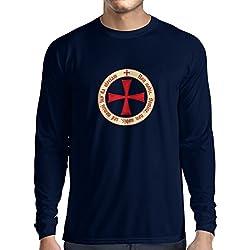 Camiseta de Manga Larga para Hombre El Orden templario de los Caballeros Cristianos (Medium Azul