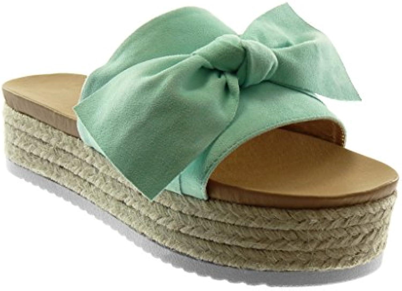 Angkorly Damen Schuhe Sandalen Mule - Slip-on - Plateauschuhe - Knoten - Seil - Geflochten Keilabsatz High Heelö