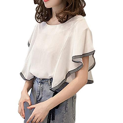 Produp Damen Klassische T-Shirts Top Blatt-Hülse O-Ausschnitt Geschäftsstilvolle Sexiness Lose gestreifte Nähbluse