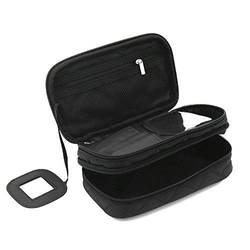 Kosmetiktasche, ONEGenug MakeUp Tasche, Schminktasche Kosmetikbeutel 20*12*8 cm Doppelschicht mit Spiegel für Damen schwarz (Make-up Tasche Handtasche)
