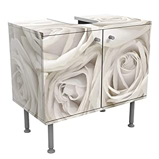 Apalis Design Vanity White Roses 60x55x35cm, small, 60cm, adjustable, wash basin, vanity unit, washstand, bathroom cupboard, base unit, bathroom, narrow, flat, Dimensions: 55cm x 60cm