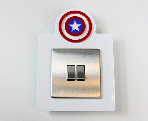 captain-america-style-single-light-switch-socket-acrylic-surround-colour-kids-room-3d-design-red-blu