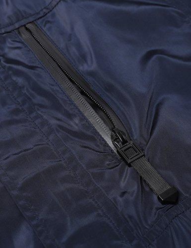 FINEJO Herren Regenjacke Wasserdicht Outwear Jacke mit Kapuze Atmungsaktiv Sportlich Windbreaker Dunkel Blau