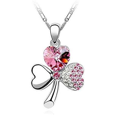 Gudeke mujeres trébol dulce Shamrock colgante collar de diamantes de cristal