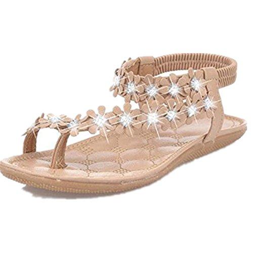 Beautyjourney infradito donna eleganti con strass mare sandali gioiello donna sandali donna bassi sandali donna con zeppa - donne estate boemia fiore perline scarpe sandali flat (39, cachi)