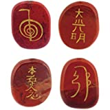 ma-on grabado rojo Jasper gemestone Palma piedras juego de cristales de curación