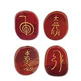 Kingwin 4pcs Natural Engraved Red Jasper Gemestone Palm Stones Healing Crystals