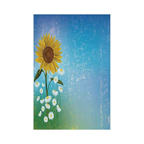Blue Floral Tapestry (Liumiang Eco-Friendly Manual Custom Garden Flag Demonstration Flag Game Flag,Sunflower Decor,Grunge Floral Illustration with Sunflower and Chaomiles Pastel Summertime Art,Blue Yellow Greenoo décor)