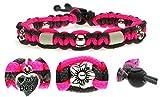KulturGUT-shop Halsband (26cm - 36cm) - mit EM Perlen, aus Paracord Seil geknüpft mit stylischen Schmuckelementen, für Hunde und Katzen. Pink/Grau Nr.105