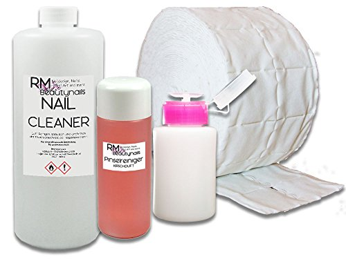 RM Beautynails 1000ml Nagel Cleaner 100ml Pinselreiniger 500 Zelletten Dispender Pumpflasche Set für Nageldesign