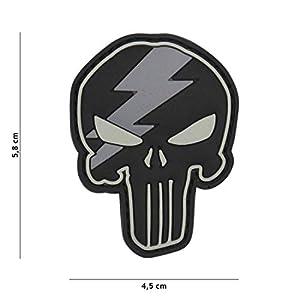 Tactical Attack Punisher Thunder Grau #19062 Softair Sniper PVC Patch Logo Klett inkl gegenseite zum aufn/ähen Paintball Airsoft Abzeichen Fun Outdoor Freizeit