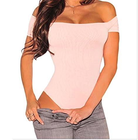 Bling-Bling Off Shoulder Bodysuit(Pink,M)
