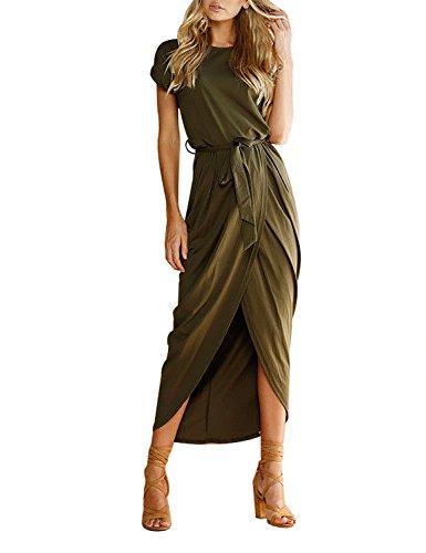 kleid Damen Kleider Kurzarm Maxikleider Rundhals Strandkleid mit Gürtel (XL, Grün) ()