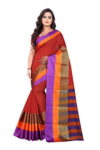 BLF Women's Cotton Silk Jacquard Work Orange Color Saree With Fancy Blouse...