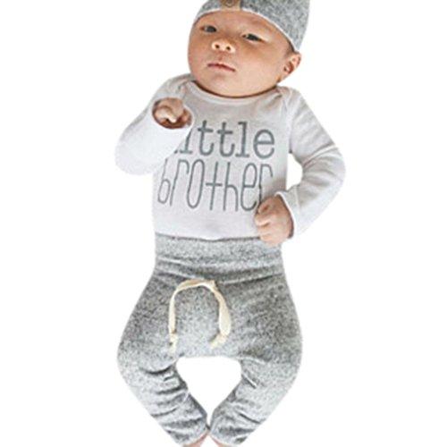 Ropa Bebe Nino Recien Nacido Oto?o Impresi¨®n de la Nube Blusa Bebe Ni?o Pantalones de Mameluco Pantalones Tops 3 Piezas Set Trajes Ropa(Blanco,6M)