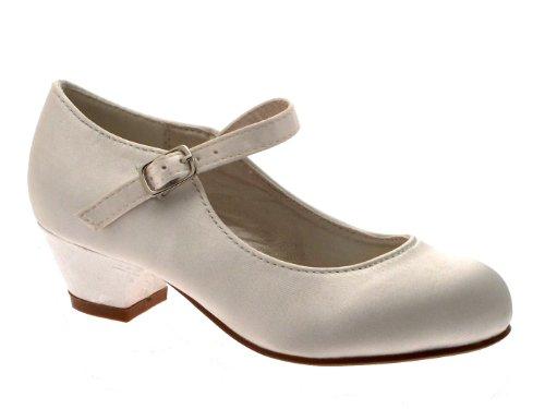 s - Mary Jane-Spangenschuhe - Satin - Kleiner Absatz - Weiß - EUR 29 (Girls Elfenbein Satin Schuhe)