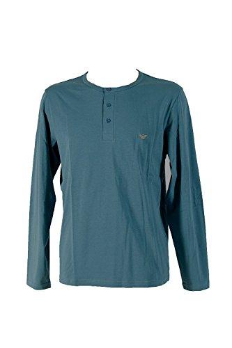 Outlet-giorgio Armani (Emporio Armani Henley Sweater Longsleeve Langarm Shirt mit Knopfleiste M Cadet Blue (16832))