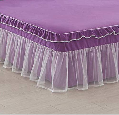Xcq Spitzen-Rüschen, komplettes Bettlaken, 45,7 cm Fallstaub-Rüschen, einfache Passform, gerafft, 3-seitiger Bezug, romantische Mädchen-Bettlaken, King-Size-Größe (lila) - Bettwäsche Lila Geraffte