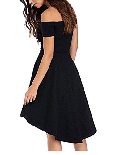 YOGLY Damen Damen Schulterfrei Skater kleider Elegant Asymmetrisch Party Abendkleid Schwarz