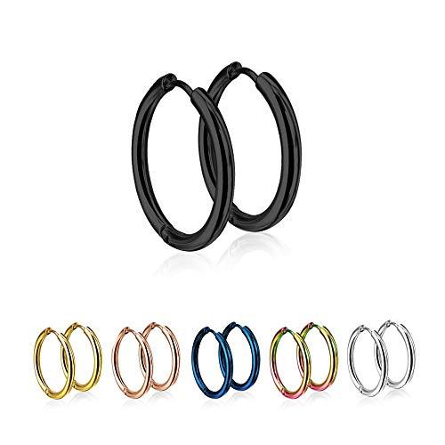 Treuheld® | Runde Creolen/Ohrringe aus medizinischem Edelstahl | 10mm | Schwarz | Schmale Klappcreolen für Damen und Herren | Set/Paar