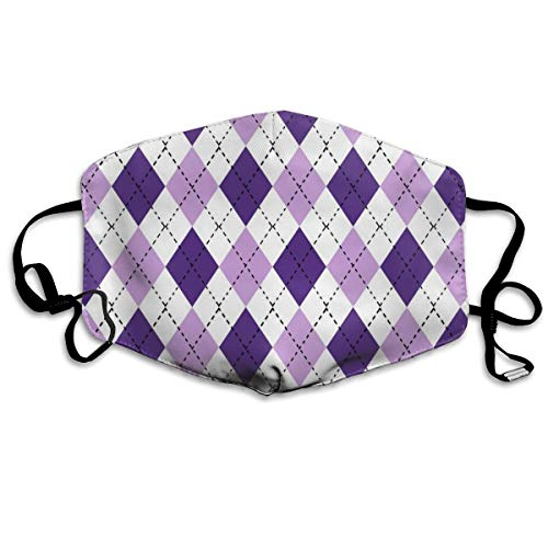 Argyle Valentine's Day, Valentine's Day Argyle, Girls Preppy, Preppy Argyle, Mulberry and Dark Violet Dust Mask Anti Dust Pollution Mask Washable Polyester Mouth Mask with Adjustable Straps