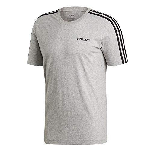 Adidas essentials 3 stripes t-shirt, maglietta uomo, medium grey heather/nero, m