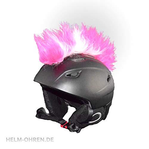"""Helm - Irokese\""""Pink-Weiß\"""" für den Skihelm, Snowboardhelm, Fahrradhelm oder Motorradhelm - Helmirokese - Coole Helmdeko/Irokesenaufsatz - Punk Iro"""