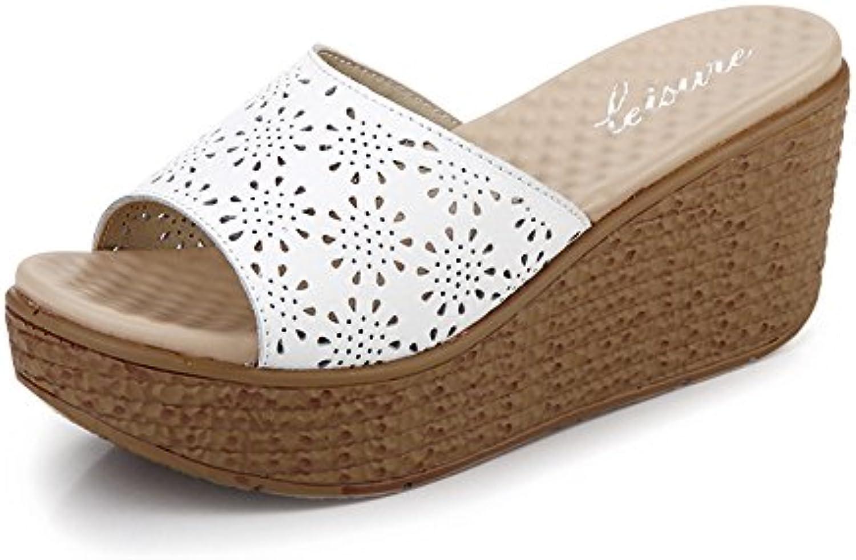 MEIDUO sandalias 7.3cm Sandalias de tacón alto de la manera femenina del verano Sandalias de tacón alto (blanco...