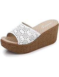7.3cm Pantuflas gruesas de la manera femenina del verano Sandalias de tacón alto (blanco / negro / azul) ( Color : Blanco , Tamaño : EU36/UK4/CN36 )