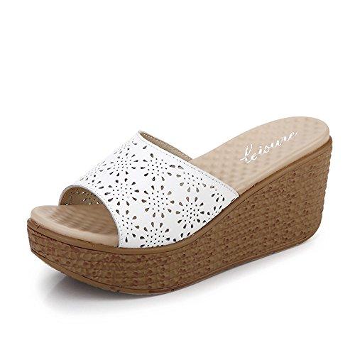 Estate Sandali 7.3cm Moda femminile estate pantofole spessi Sandali con tacco (bianco / nero / blu) Colore / formato facoltativo Bianca